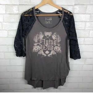 Free People Flying Wild Graphic Tee. Lace